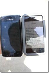 Samsung Galaxy S vs iPhone 3Gs กลางแดด