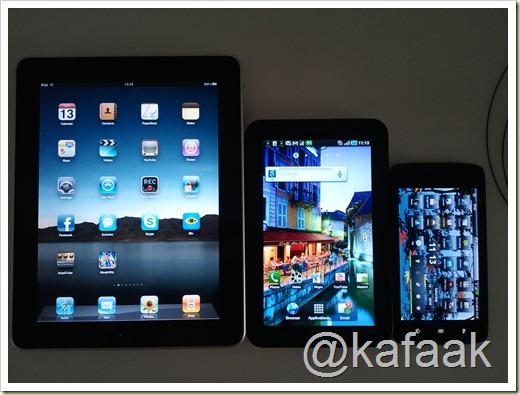 จากซ้ายไปขวา iPad, Galaxy Tab, Streak