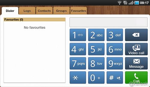 หน้าจอโทรศัพท์ในแนวนอน