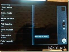 เมนูของ Camera App บน Dell Streak Android 2.1